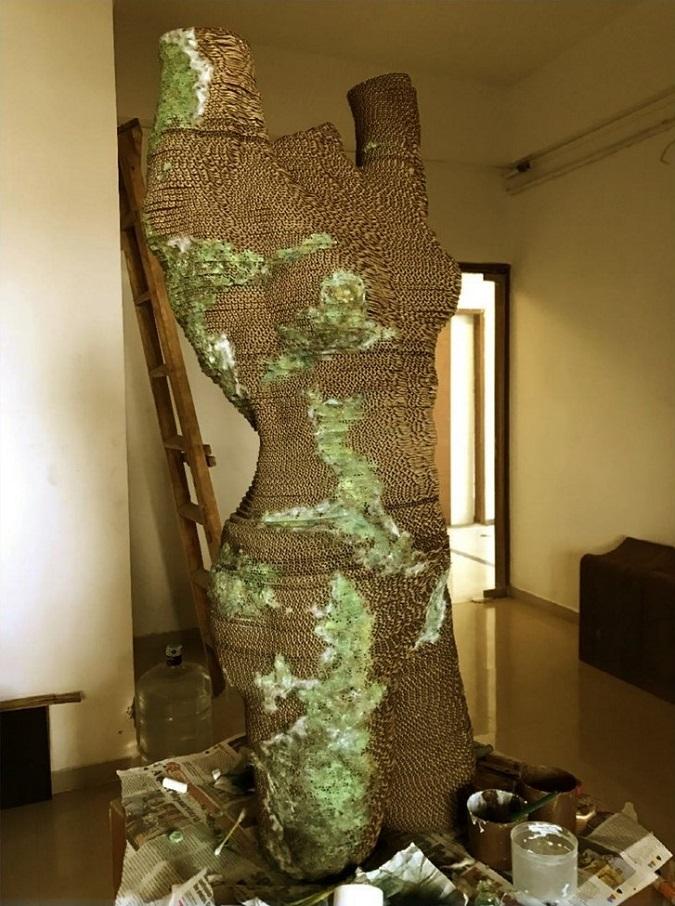 #metoo cardboard sculpture