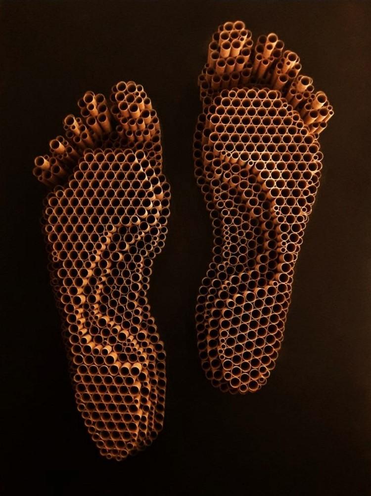 Shripada - Laxmi Feet - Paper Tube Sculpture